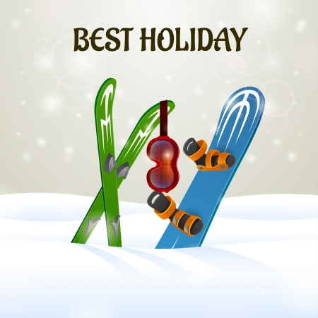 Skiing with Ski Goggles and snowboard on snow background Vector