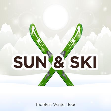 Sun & Ski and sun snow background