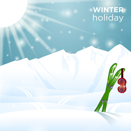 winter holiday: Sunny winter holiday outside ski goggles on skiing Illustration