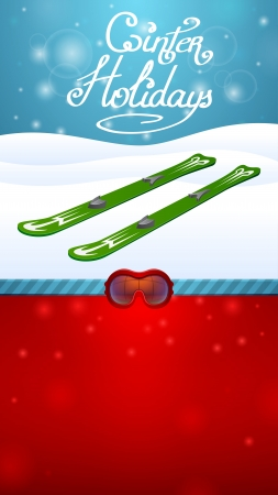 snow track: winter holidays outside green skiing and red ski goggles