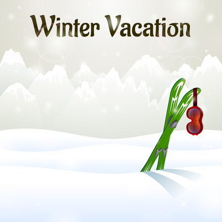 ski goggles: Winter vacation outside on snow background with ski goggles and skiing  Illustration