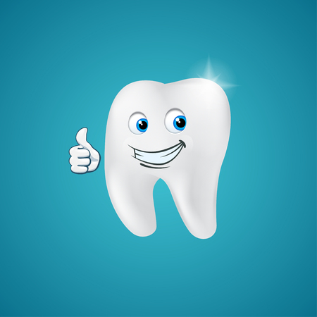 dentist symbol: Animated hero happy human tooth