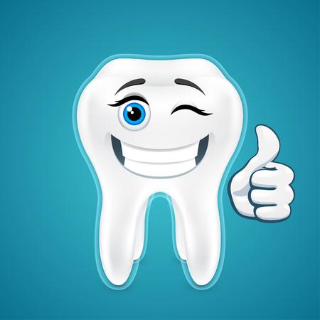 clin d oeil: Happy dents humaines prot�g�es, sourire, clin d'oeil, sur le bleu