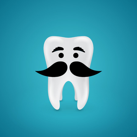 unshaven: tooth with black mustache and eyebrows on blue