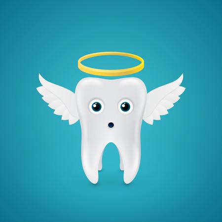 angelic: diente angelical sorprendido con las alas en azul