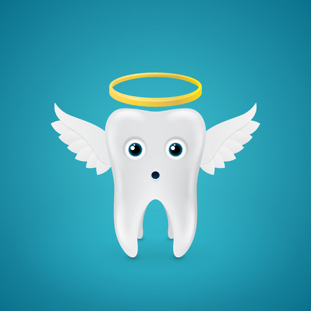 wings icon: surprised angelic tooth with wings on blue  Illustration