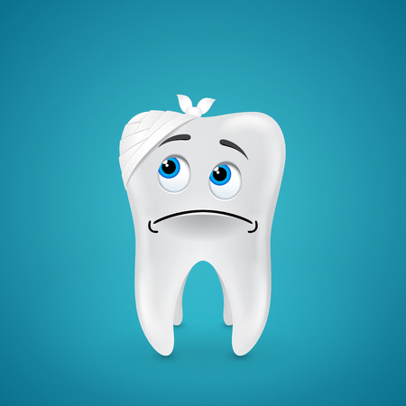 Bandaged sad tooth on blue  Vector