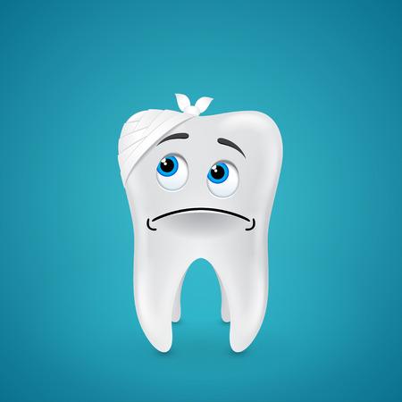 Bandaged sad tooth on blue  Vector