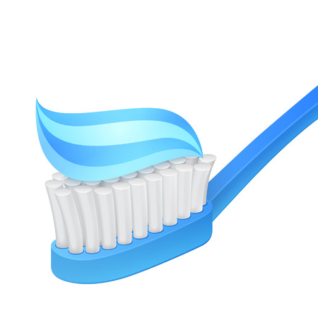 Blue toothbrush and toothpaste on white  Vector