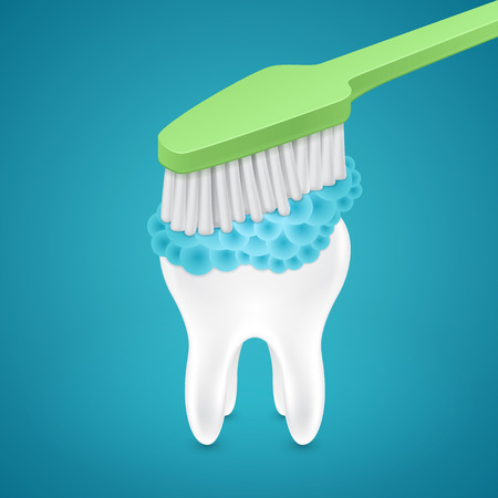 whitening: Brushing your teeth with toothpaste on blue