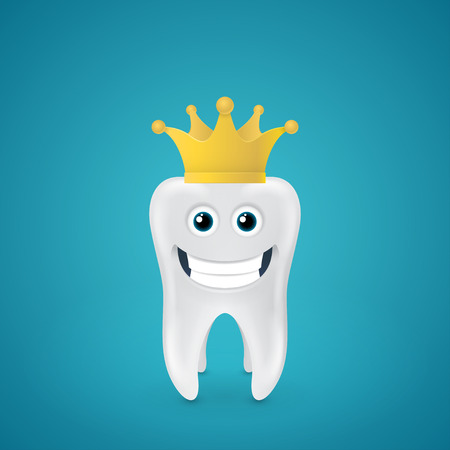 Smiling tooth with crown on blue backround Vector