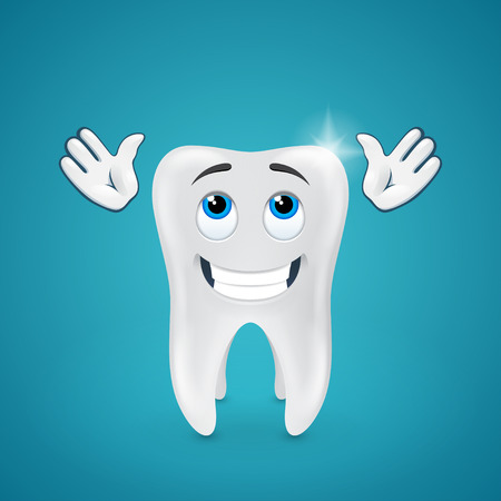 child looking up: Happy shiny tooth hands raised looking up on blue background Illustration
