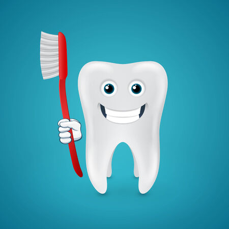 Happy white tooth with red toothbrush on blue background Vector