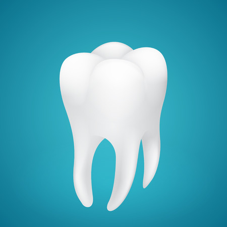 Healthy human tooth on blue background