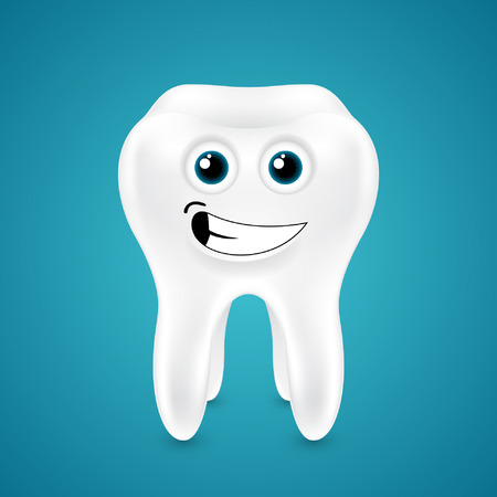 lively: Lively smiling healthy tooth on blue background Illustration