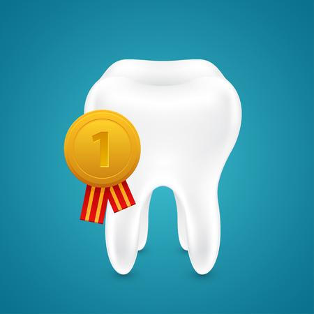 Human teeth, gold medal, bluea background