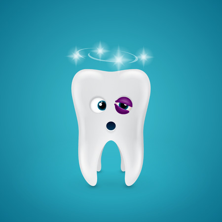 dizziness: Tooth with a black eye and dizziness on blue background