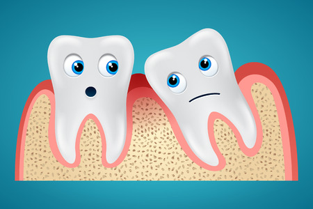 edema: Two tooth one of which is inclined and gum hurt