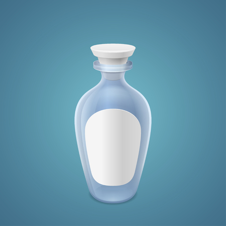 closed corks: Empty bottle with clean label on blue background
