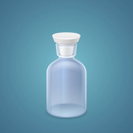 bung: Jar with white cork isolated on blue background Illustration