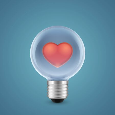 Red heart inside of lamp isolated on blue background Vector