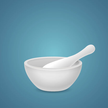 Mortar and pestle isolated on blue background Vector