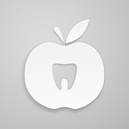 indentation: Tooth in apple on gray background Illustration