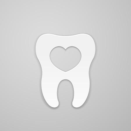 Einbuchtung: Zahn mit Herz im Inneren Illustration