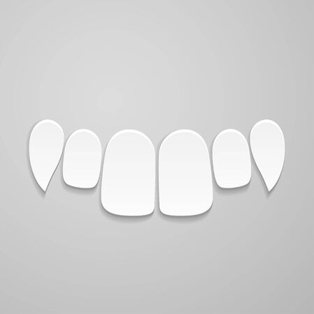indentation: Upper front white teeth on gray background Illustration
