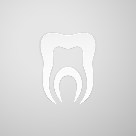 root canal: Canal in the symbol tooth on gray background Illustration