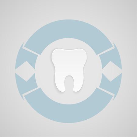 Einbuchtung: Dental-Emblem mit blauen corcle auf grauem Hintergrund