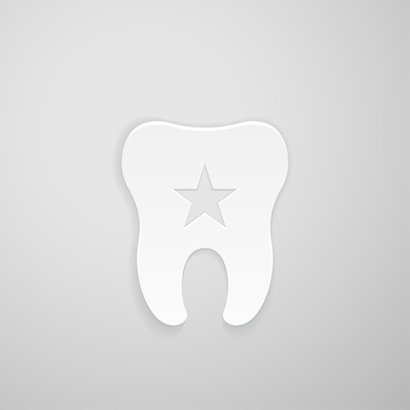 indentation: Emblem tooth with a star inside on gray background
