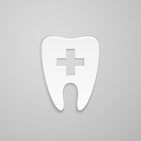 indentation: Symbol stomatology clinic and cross on tooth