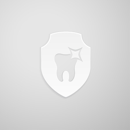 indentation: Tooth icon in the form of a shield on gray background