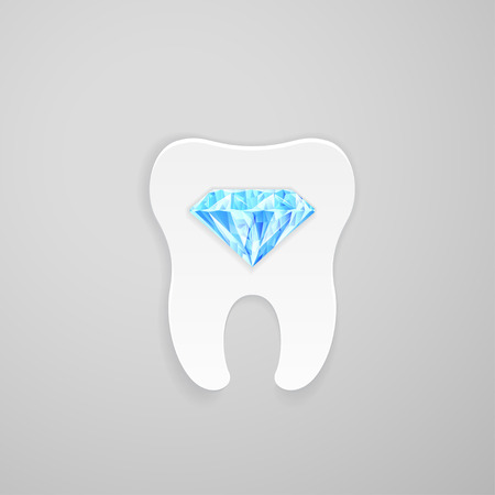 indentation: Tooth with blue diamond on gray background Illustration
