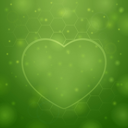 Beautiful heart on green background Vector