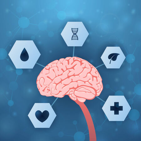 pulses: Brain and medical assistance on blue background