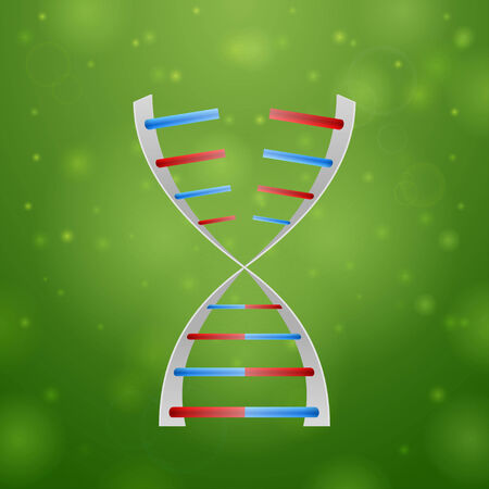 rna: DNA and RNA on green background Illustration