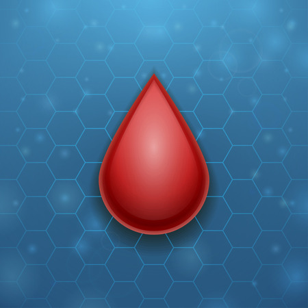 Drop of blood on blue hive background Vector