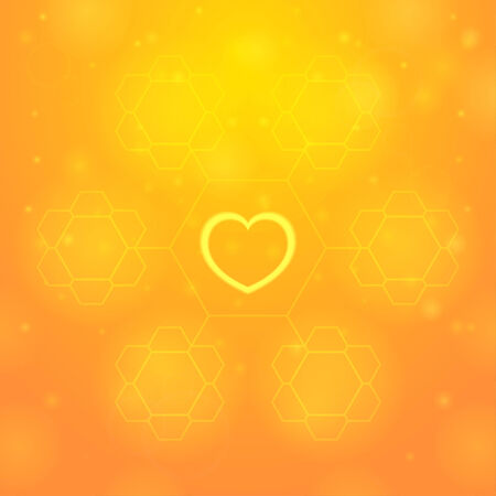 beauty spot: Yellow heart on orange background