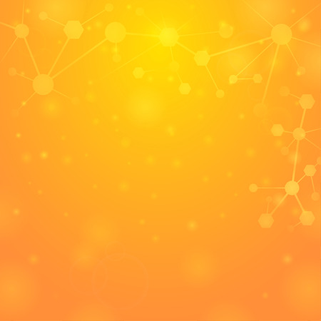 Yellow light background with molecules Illustration