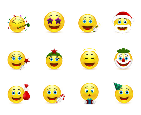 set of smiley images on a party theme Vector
