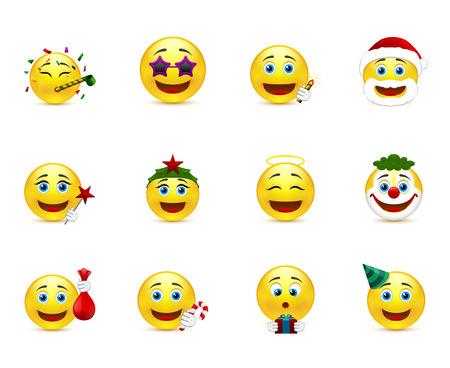 joke glasses: set of smiley images on a party theme Illustration