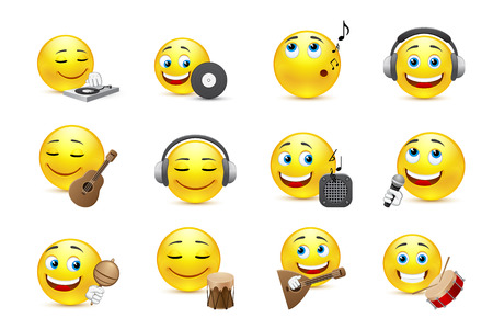 happy face: set of emoticons in different musical styles