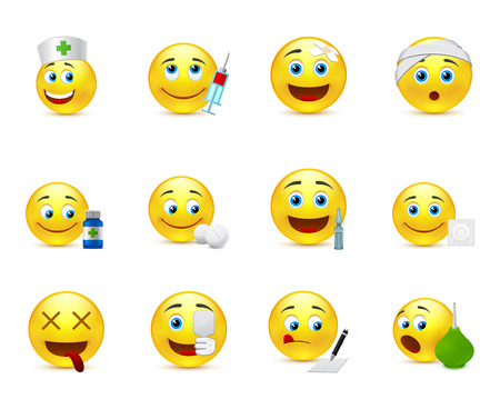 doctor and nurse: emoticon collection on medical subjects