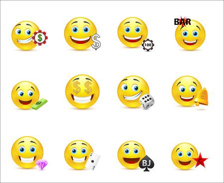 smiley face cartoon: Sonrisas con diferentes tipos de billetes y los elementos del casino Vectores