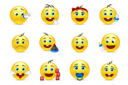 hairband: smileys icons with babys characters and items Illustration