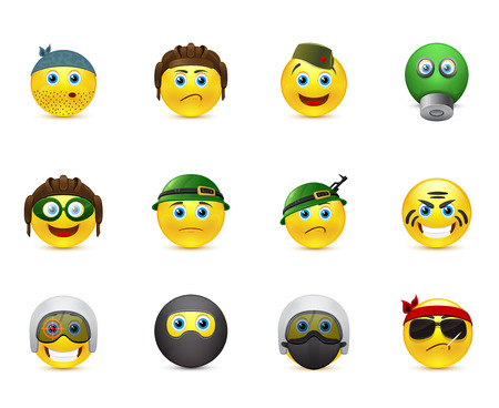 collection of icons smileys on the military theme Vector