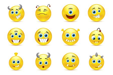 wicked set: set of smileys cutie monsters