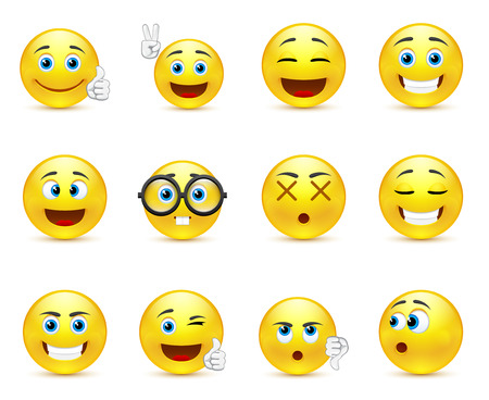 smiling: smiley faces expressing different feelings Illustration